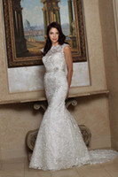 Wholesale lace fit flare Wedding Dresses Bridal Gown with illusion neckline and sash