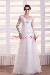 Wholesale Simple Greece Style Short Steeve Wedding Dresses Scoop Neck Sheath Crystal Beads V Neck Wedding Gown