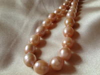 Wholesale 10 mm Pink Cultured Rice or Oval Freshwater Pearls Loose pearl strands inches
