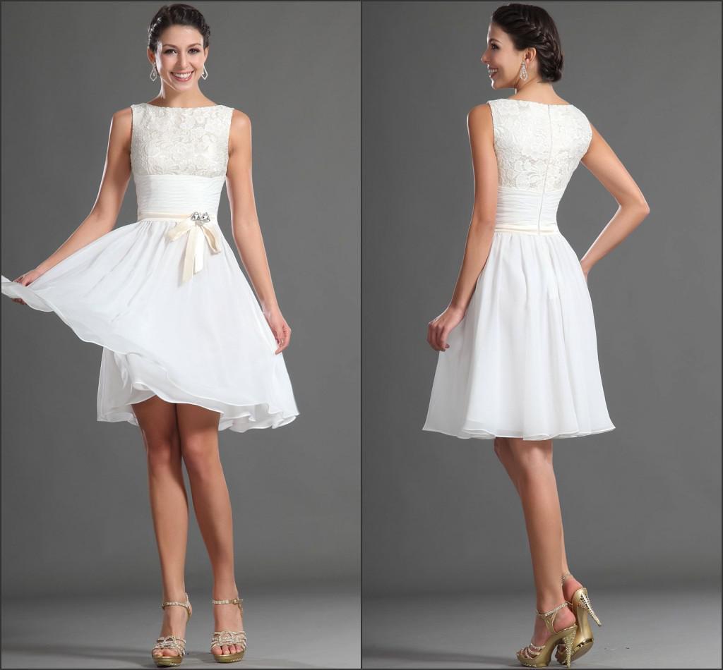 New Sleeveless White Knee Length Lace Chiffon Cocktail Dress Short ...