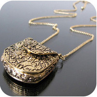 Wholesale Europe Retro Beautifully Carved Metal Purse Bag Pendant Necklaces Lockets