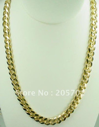"New Fine Jewelry 20"" 14K yellow Gold Overlay Cuban Chain Link MEN Necklace"