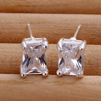 Wholesale New Fashion Jewelry Gift Silver Plated Charm CZ Zircon Gemstone Stud Earrings For Women YE098