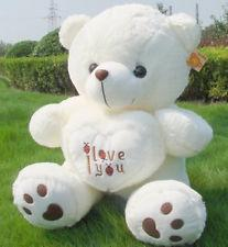 Wholesale cadeau du jour de GIANT ÉNORME PLUSH BEETLE COEUR D AMOUR TEDDY BEAR Blanc Valentine