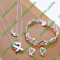 Gift  african jewelry set - Fashion New Sterling silver plated necklace earring style chains jewelry set