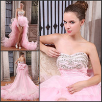 Wholesale New arrival exquisite hand made strapless beads riched high low pink prom party gown cocktail dress