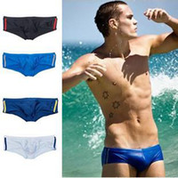 Wholesale Men s swim trunks Nylon Lycra side double stripe low waist sexy briefs swimwear AUS colors