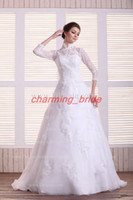 Wholesale 2013 Fall Winter Vintage A Line Long Steeve High Neck Wedding Dresses Bridal Gown Lace Chapel Train