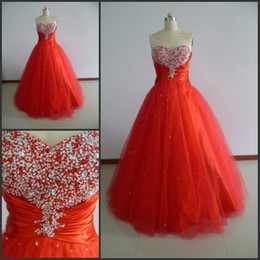 Real In Stock Quinceanera Dresses Exqusite Ruffle Crystal Sweetheart Ball Gowns Organza Prom Dresses Sweet 16 Dresses