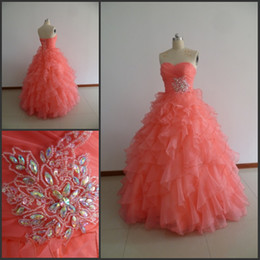 Real Picture Sweetheart Ball Gown Quinceanera Dresses Ruffles Beaded Organza Floor-length Lace up Back Prom Dresses Special Occasion Dresses