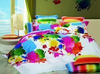 achat en gros de feuille de reine mettre en coton égyptien-Réduction Multicolor Inkjet Ensemble de Literie Plein / Reine / Literie Couette Duvet / Quilt en Égyptien Feuille de Lit Combinaison 4pc ou 5pc Textile