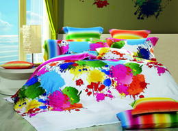 Wholesale Discount Multicolor Inkjet Full Queen Bedding Set Bedclothes Egyptian Cotton Duvet Quilt Cover Bed Sheet Comforter set pc or pc Textile