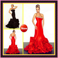 2013 Chic Sexy Black Red Crystal Beaded Sweetheart Neckline ...