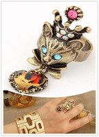 Wholesale Restro Finger Rings Crystal Crown Fox Heart Pendant Charm Ring JZ095