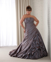 Wholesale Plus Size Purple Ruffled Taffeta Bridal Dress Gowns A Line Court Train Wedding Dresses Gown