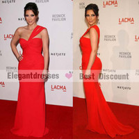 Wholesale kim kardashian Wear One Shoulder Red Chiffon Floor Length Celebrity Party Evening Dress CBD158