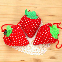 Wholesale 20 Pack Factory Supplied Strawberry Folding Fold Up Reusable Compact Eco Recycling Use Shopping Bag