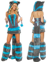 Wholesale Cosplay Sexy Animal Costumes For Women Furry Cheshire Cat Costume Waist Mini Skirt Warmer Party Outfit O31162