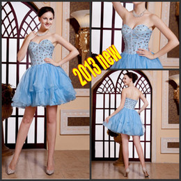 Wholesale 2015 Custom Light Blue Short Beading Crystal Prom Pageant Evening Cocktail Corset Homecoming Dress