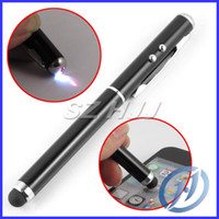 Wholesale High Sensitive in Styuls Touch Pen Laser Light Led Light Ball Point Pen For Cellphone Tablet