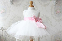 Wholesale Real Simple Fashion Ball Gown Lace Pleat Bow Ribbons Mid Claf Flower Girl Dresses Lovely