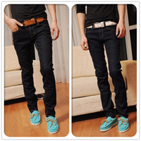 Wholesale On Sale Fashion Long Classic Style Slim fit Men s Jeans Denim CasualTrousers Free Ship