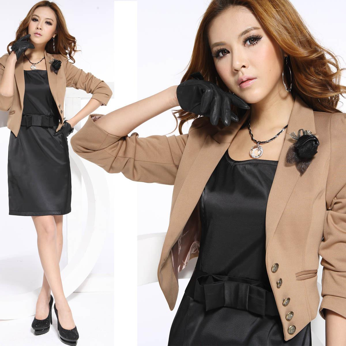 2017 3/4 Sleeve Women Office Suits High Quality With Kahki Suit   ...