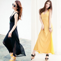 Wholesale 2013 New Black and Yellow Long Dress Chiffon Maxi dress Summer Casual dress Bohemian skirts DK4007