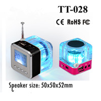 Wholesale TT LED Crystal Mini Music Speaker Portalble Spearker for Andrioid Tablet PC Iphone Ipod MP3 MP4