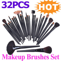 Wholesale 32PCS Professional Cosmetic Make Up Makeup Brushes Brush Set Black Pouch Bag H4456 H8529