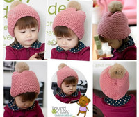 Wholesale kid Rabbit hair ball hat children woolen yarn hat baby Accessories Fall boy girl keep warm caps