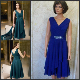 Wholesale Best selling custom made blue V neck chiffon tea length modest mother of the bride dress formal gown