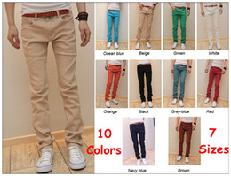 Wholesale 10 Colors NEW Fashion Men s casual Skinny Stretch JEANS Pencil Trousers Free ship
