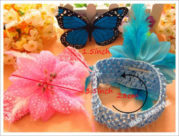 Wholesale 8pcs inch Feather Hair Flower Hair Bow Elastic inch Headband Girl s Infant s Hair Accessorry