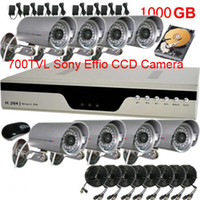 Wholesale 8CH H DVR CCTV System IR TVL Sony Effio CCD Waterproof Security Camera With TB HDD