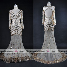 2018 Actual Picture Champagne Colour Backless V-neck Rhinestones Beading Prom Evening Dresses Long EDa088