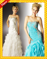 Reference Images Strapless Organza Strapless Mermaid Prom Dresses White Aqua Ruffles Sweep Train Shiny Beaded Sequins Crystals Evening