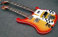 Wholesale Sunburst Double Neck Strings Electric beth Bass Guitar and Strings Electric Guitar