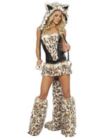 Women maid costume - Sexy Animal Cosplay Costumes For Women Minions Maid Five piece Frisky Leopard Costume Lace up Bustier Top Waist Skirt Tail Legwarmers O31161