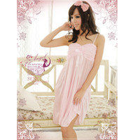 Wholesale Hot fashion lady sexy lingerie set pink lace lingeries see through female underwear nightgown