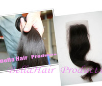 Wholesale 8 quot quot Full Head Indian Virgin Remy Hair Weft PC Closure Natural Color Weave Straight