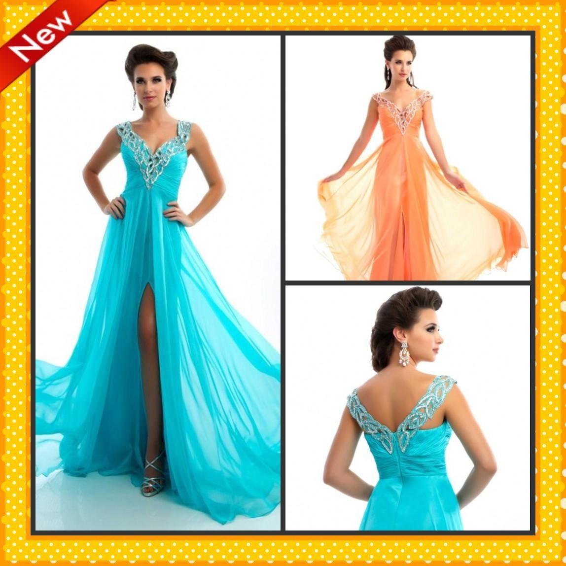 y Front Slit Evening Dresses Shiny Sequins Ruffles Aqua