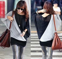 Wholesale 2013 Lady Batwing Sleeve Tshirt Clothes of Woman Splicing Colors Tops Leisure Style Cloth