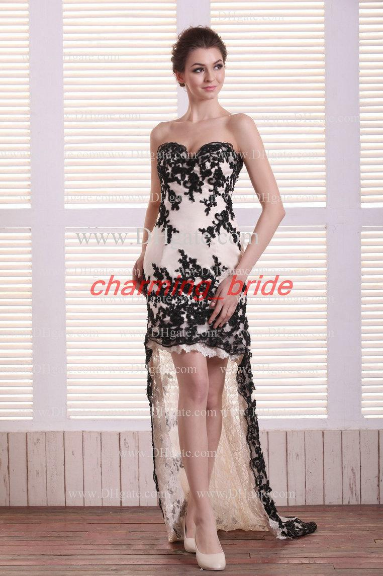 2013 Designer Ivory Sweetheart Hi Lo Party Dresses Black Lace Prom ...