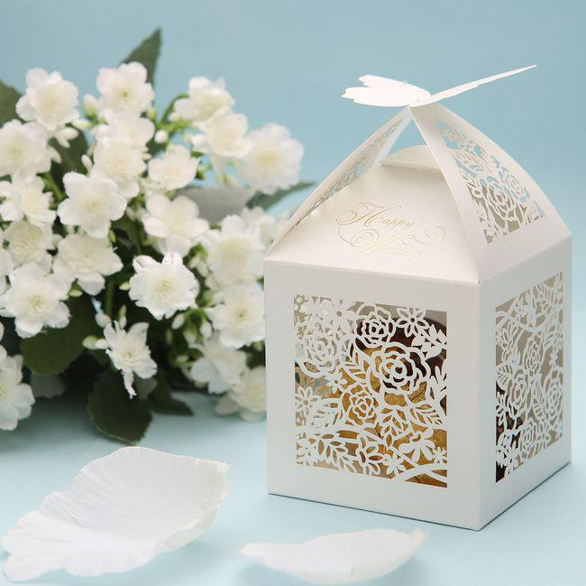 butterfly cut out flower wedding favor boxes bridal party shower gifts holder personalized favor. Black Bedroom Furniture Sets. Home Design Ideas
