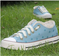 Wholesale women Shoes canvas shoes lacy blue dot canvas shoes casual shoes wet shoes