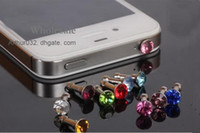 Wholesale Colorful Bling Bling Diamond Anti Dust Plugs Stopper mm Jack Ear Cap for iPhone S S3