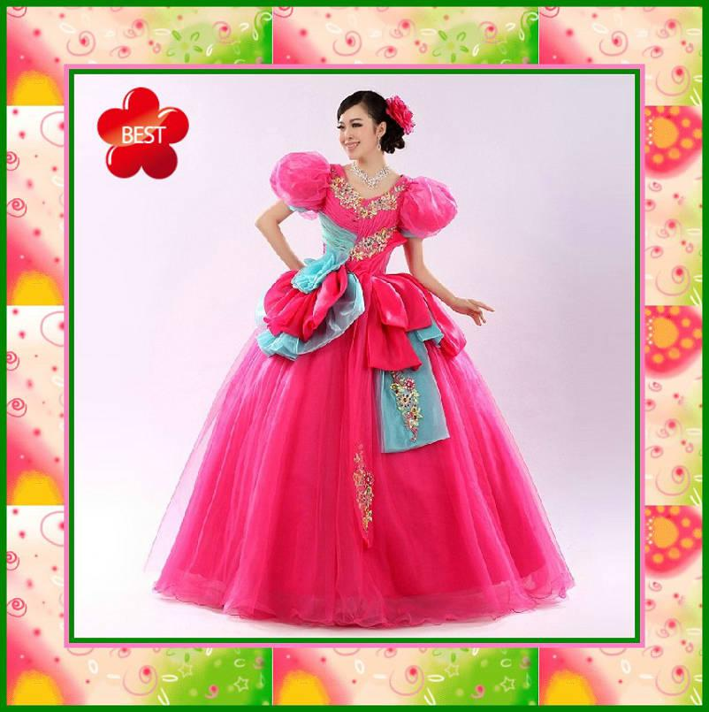 ful V Neck Puffy Sleeves Lovely Flowers Beads Appliques Ball Gown ...