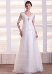 Wholesale 2013 Hotsale White Empire Bateau Floor Length Tulle Sequins Beaded Garden Weddingdresses With Sleeve