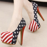 american platform shoe - 2013 Sale Size Denim Cloth American Flag Stars Stripes High Heels Shoes Platform Pumps Stiletto